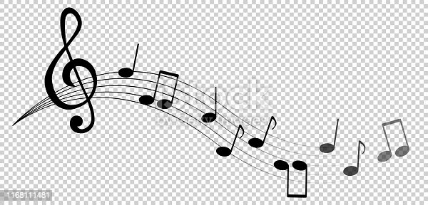 Music notes and symbols isolated. Vector illustration.
