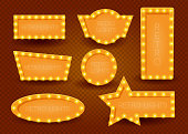 Shining waves background with retro casino light banner. Vintage style banner. Vector illustration eps 10.
