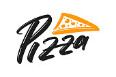 Pizza hand drawn modern brush lettering text. Vector illustration logo for print and advertising