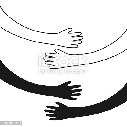 Hugging hands. Arm embrace, belief togetherness unique relationship hugged hands vector isolated concept