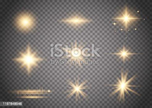 Set of glowing light explodes. Abstract special effect element design. Shine ray with lightning, sparkling round.  Bright gold flashes and glares. Bright rays of light.