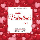 Valentines day sale poster with red and pink hearts. Vecctor illustration EPS10