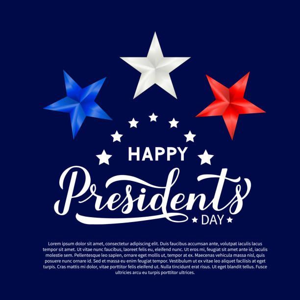 Web Happy Presidents Day calligraphy lettering with red, blue and white 3d stars. American patriotic typography poster. Easy to edit vector template for logo design, banner, greeting card, postcard, flyer surface to air missile stock illustrations