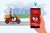 Food delivery app on a smartphone tracking a delivery man on a moped with a ready meal. Delivery bike with cardboard box on mobile phone and city background.