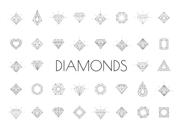 Web Crystal stone line icons symbol set vector illustration. Jewels diamond icons. Diamonds gems, luxury jewel gemstones and precious gem. diamond shaped stock illustrations