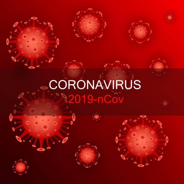 web Coronavirus cell, 2019-nCoV. China pathogen respiratory coronavirus 2019-nCoV. The virus attacks the respiratory tract, pandemic medical health risk corona sun stock illustrations
