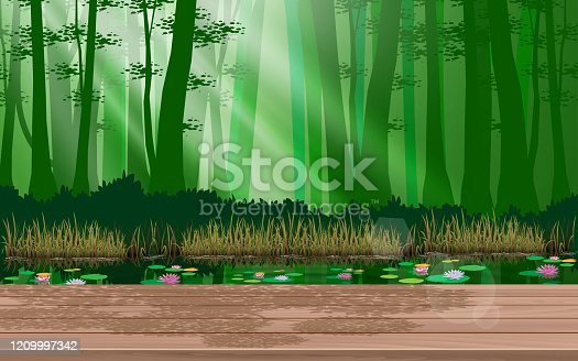 wooden table at the river in the jungle