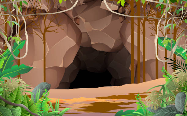 Web landscape of cave in the jungle adventure backgrounds stock illustrations