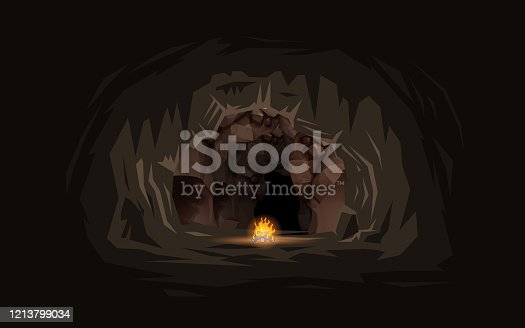 bonfire with landscape of inside the cave