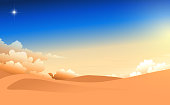 landscape of the desert in the morning