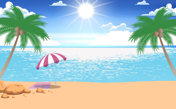Web landscape of sunlight at the beach in the day horizon over water stock illustrations