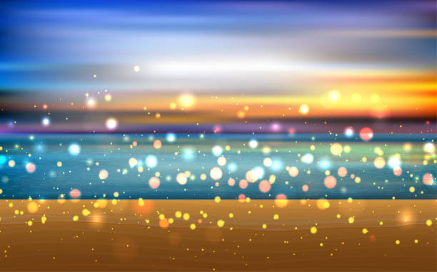 Web landscape of the sand beach in sunset horizon over water stock illustrations