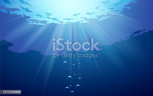 beautiful sunlight at under water in the ocean
