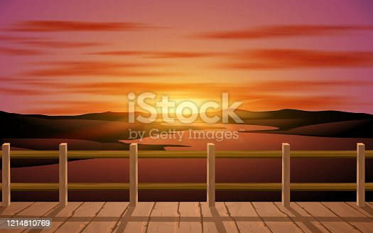 landscape of wooden bridge at the river in the morning