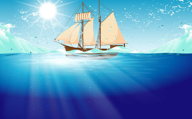 Web sailboat with water wave in the ocean horizon over water stock illustrations
