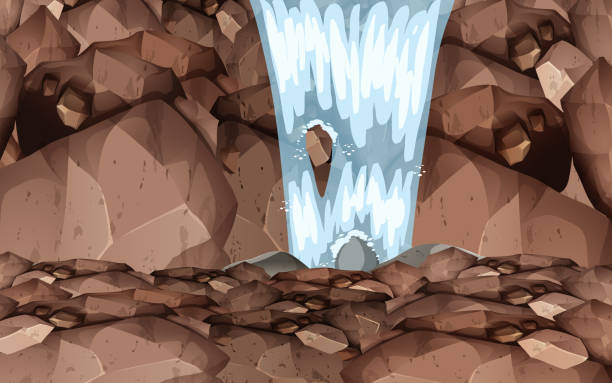 Web landscape of waterfall on the rock mountain cliffs stock illustrations