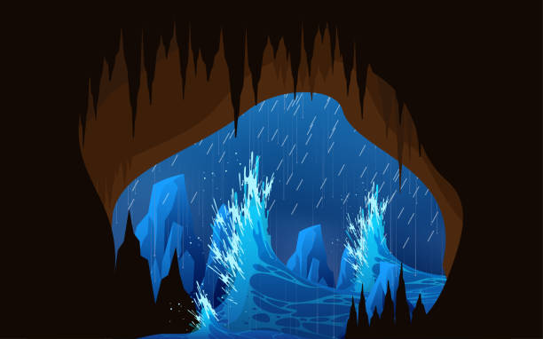 Web Storm and high waves at the cave in the sea songbird stock illustrations
