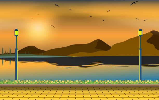Web landscape of river in sunset dusk stock illustrations
