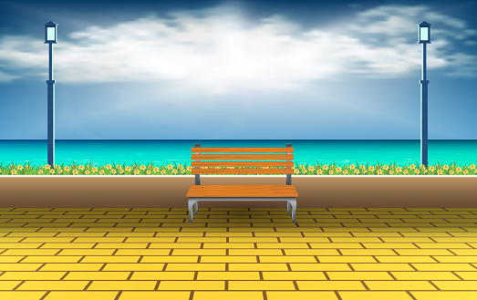 wooden lawn chair at the beach