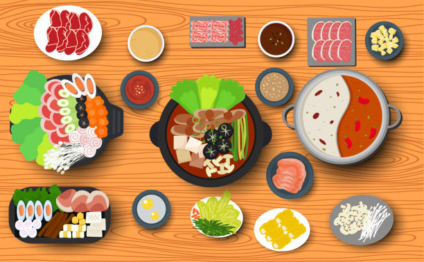 Web Hotpot and ingredient on the wooden table close up stock illustrations