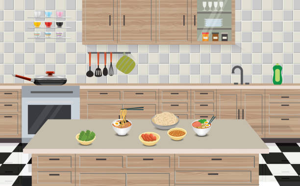 Web cooking ramen in the kitchen room domestic kitchen stock illustrations