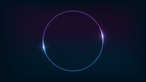 Neon circle frame with shining effects on dark background. Empty glowing techno backdrop. Vector illustration.
