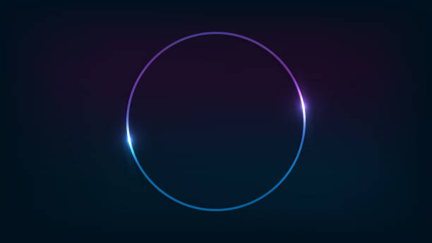 Web Neon circle frame with shining effects on dark background. Empty glowing techno backdrop. Vector illustration. glowing stock illustrations