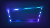 Neon trapezoid frame with shining effects on dark background. Empty glowing techno backdrop. Vector illustration.