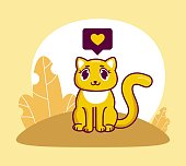 cute yellow cat with like flat design greeting card for valentine's day