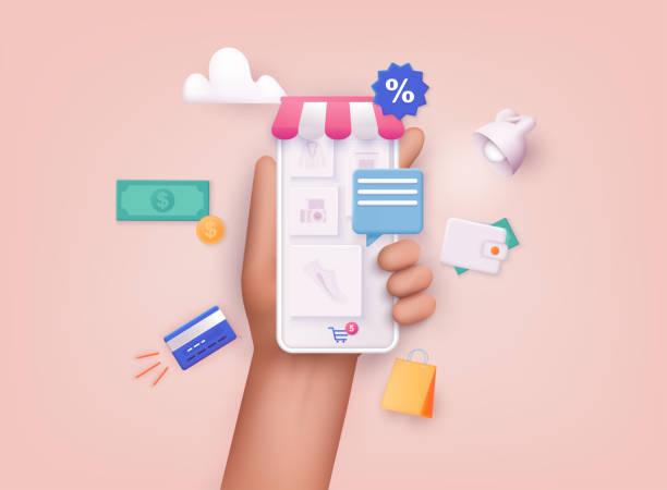 3D Web Vector Illustrations. Hand holding mobile smart phone with shopp app. Online shopping concept. 3D Web Vector Illustrations. Hand holding mobile smart phone with shopp app. Online shopping concept. 3d icons stock illustrations