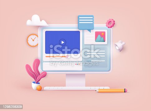 istock 3D Web Vector Illustrations. Online video. Distance training, streaming, webinar, conference videos. 1298258309