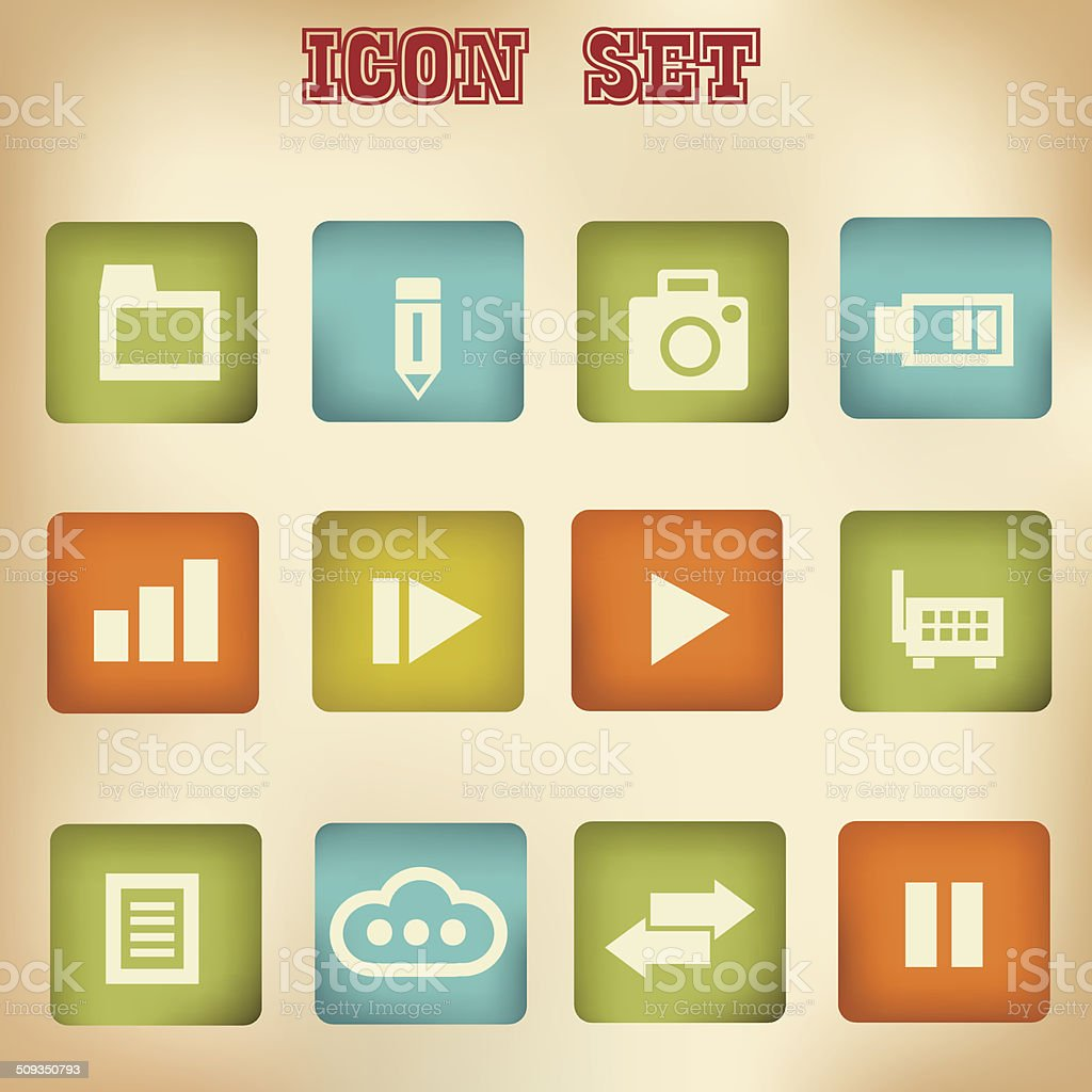Web vintage icons,vector royalty-free web vintage iconsvector stock vector art & more images of abstract
