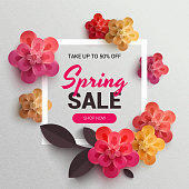 Web Wanner with red paper flowers for spring sales. Vector illustration of realistic flowers, can be used in the magazine, online, in Vetrino store leaflets