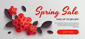 Web Wanner with red paper flowers for spring sales.