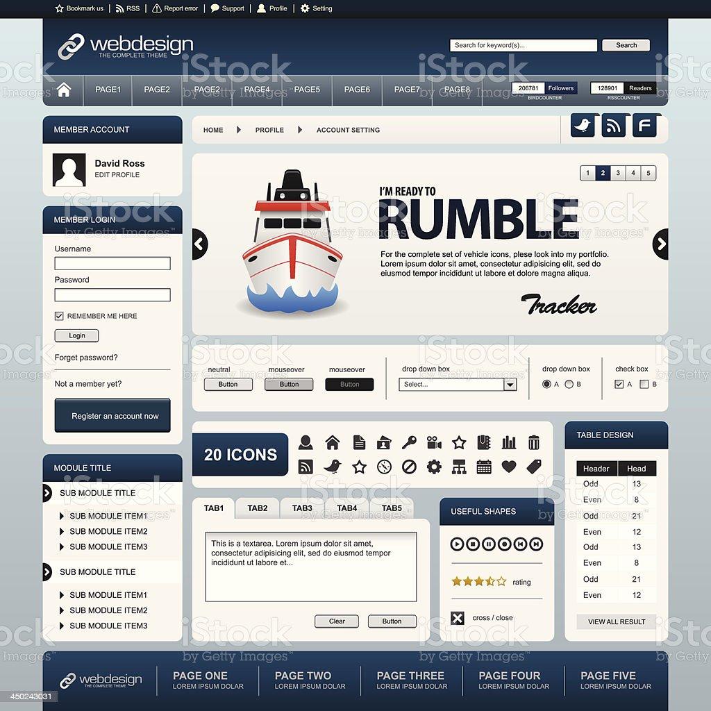 Web Website Element Design Template Blue Vector royalty-free stock vector art
