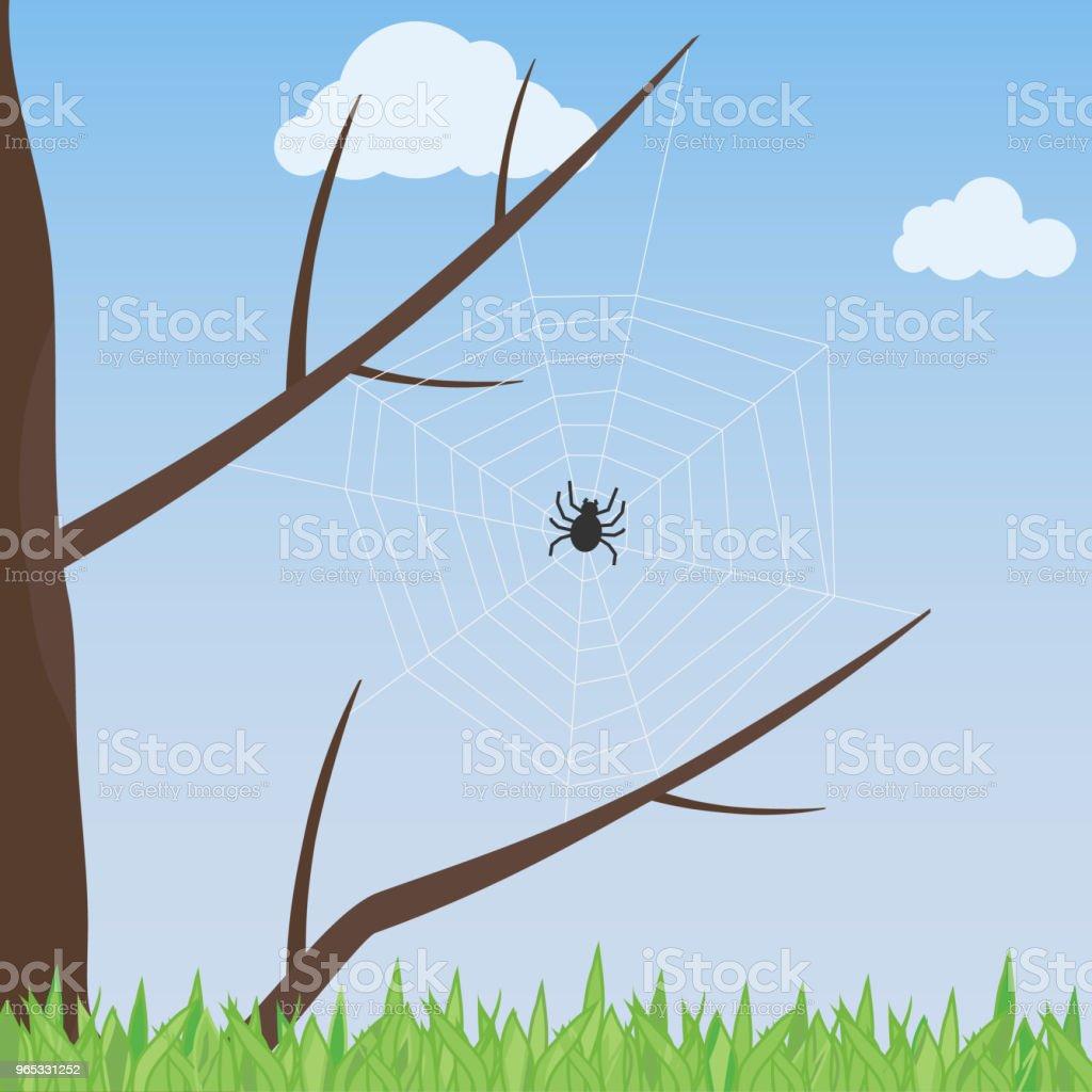 나무에 거미 웹입니다. 거미는 나무에는 웹을 뽑아. - 로열티 프리 0명 벡터 아트