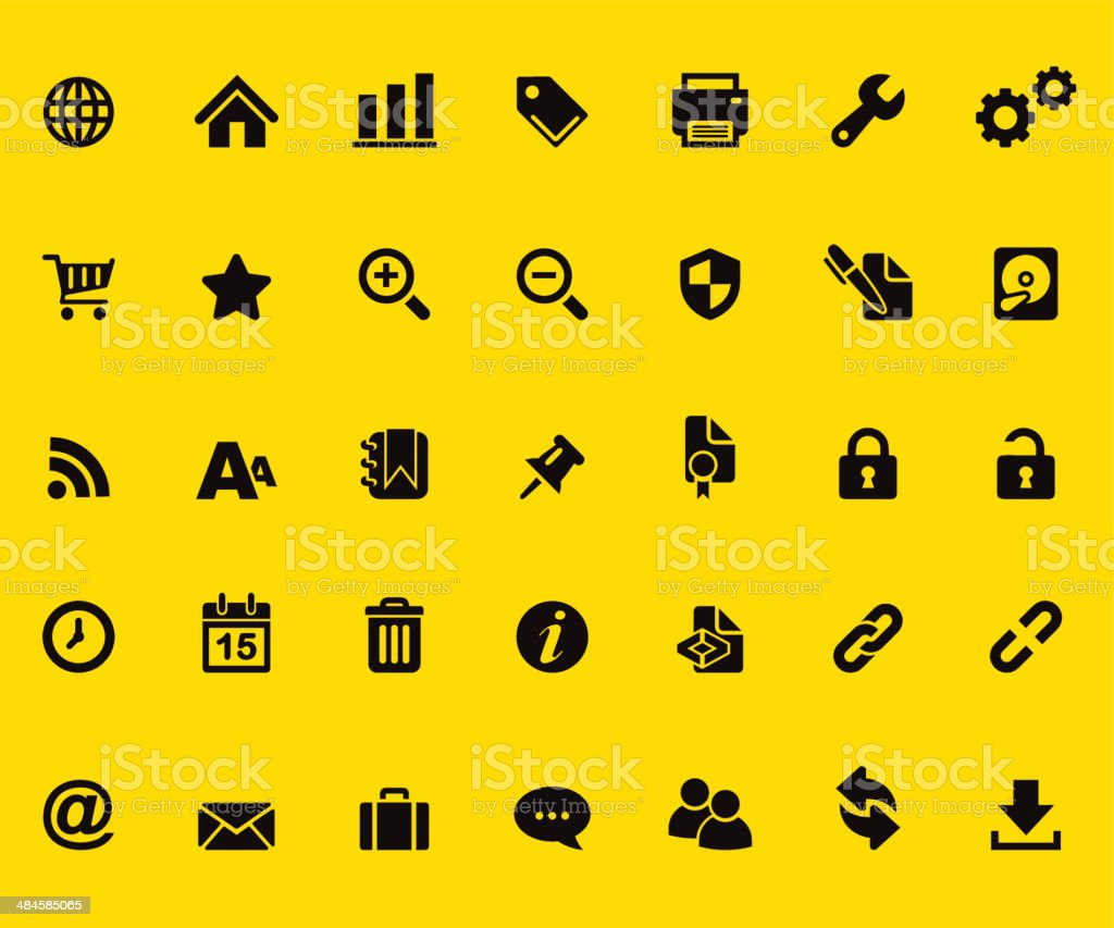 Web Yellow Silhouette icons vector art illustration