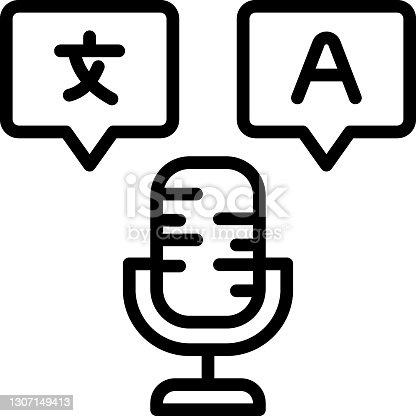 istock WebAudio Translation Service Concept Vector line Icon Design, Language Translation symbol on white background, Dub localization stock illustration 1307149413