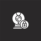webcam icon. Filled webcam icon for website design and mobile, app development. webcam icon from filled cyber security collection isolated on black background.
