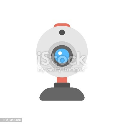 istock Webcam icon illustration in flat design style. PC camera sign. 1281053186