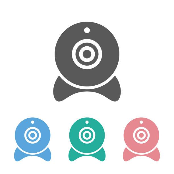 ilustraciones, imágenes clip art, dibujos animados e iconos de stock de webcam icono - zoom meeting