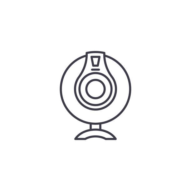 攝像頭線性圖示概念。攝像頭線向量符號, 符號, 插圖。向量藝術插圖