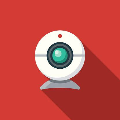 Webcam Social Media Flat Design Icon with Side Shadow