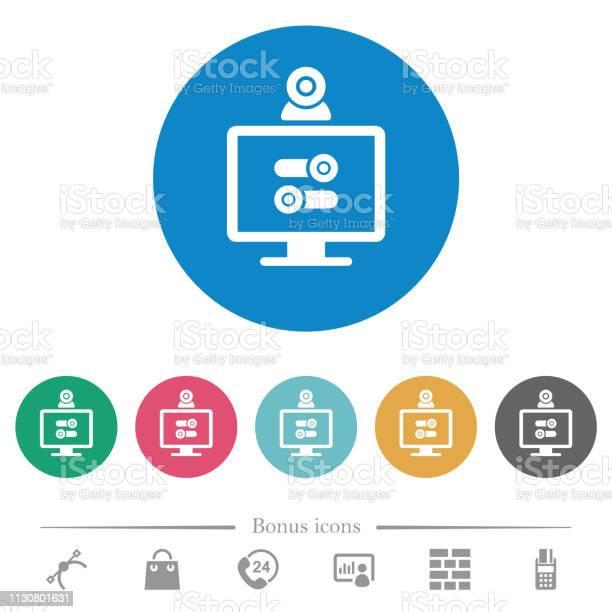 Webcam Tweaking Flat Round Icons — стоковая векторная графика и другие изображения на тему Веб-камера - Оборудование для записи звука и видео
