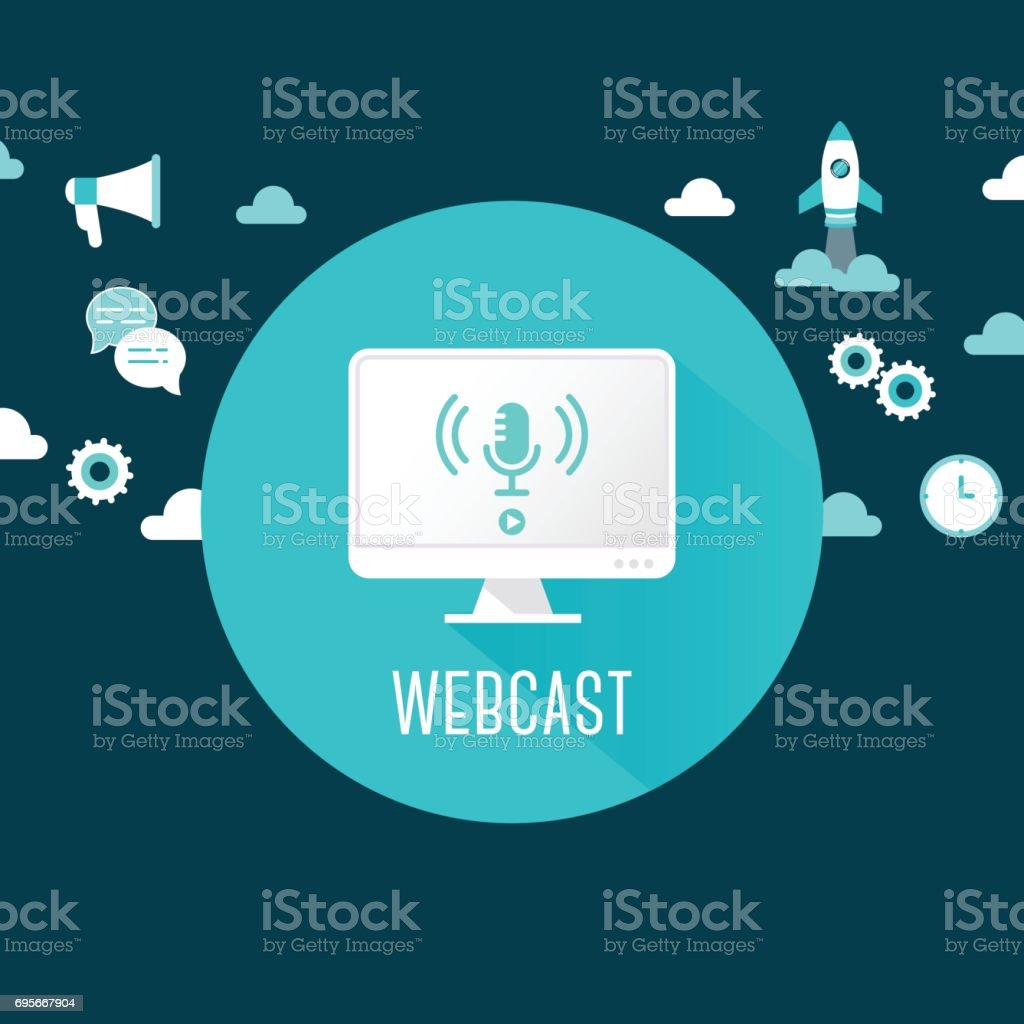 Webcast or Live Stream Illustration. Computer with Microphone Icon Surrounded by Technology and Communication Icons vector art illustration