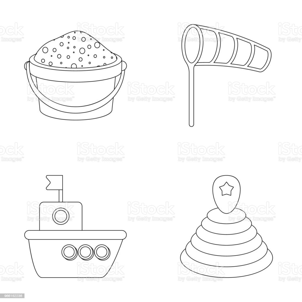 WebChildren toy outline icons in set collection for design. Game and bauble vector symbol stock web illustration. - Royalty-free Bucket stock vector
