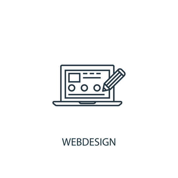 Webdesign concept line icon. Simple element illustration. Webdesign concept outline symbol design from SEO set. Can be used for web and mobile UI/UX Webdesign concept line icon. Simple element illustration. Webdesign concept outline symbol design from SEO set. Can be used for web and mobile UI/UX web design stock illustrations
