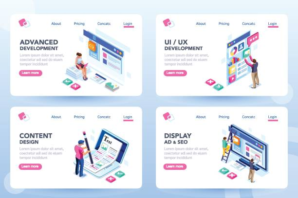 Webdesign Web Page Templates Develop, web development, process concept, webdesign advertising, engine for software content. Visual front infographic of program optimization concept. Characters flat isometric vector illustration. web design stock illustrations