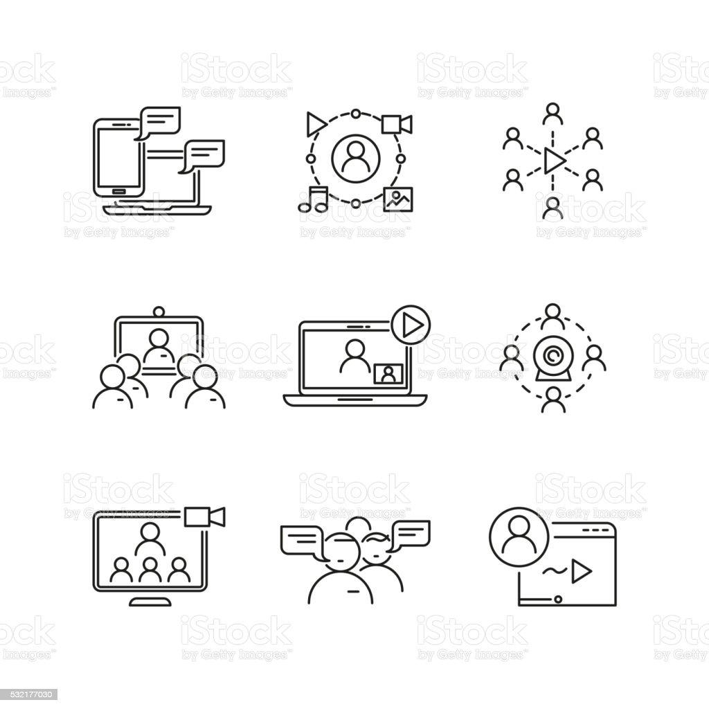 O Webinar e comunicação Vector linear ícones - Royalty-free A usar um telefone arte vetorial