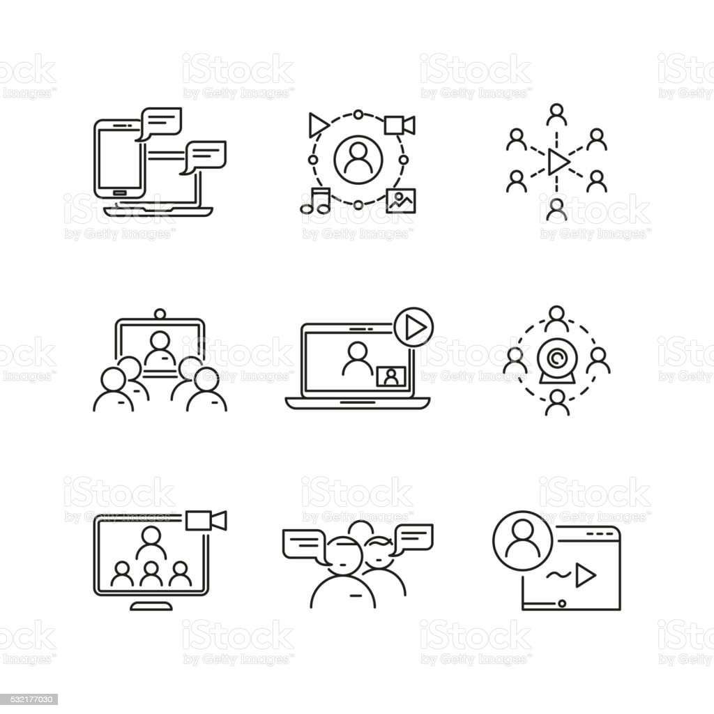 Webinar and communication vector linear icons vector art illustration
